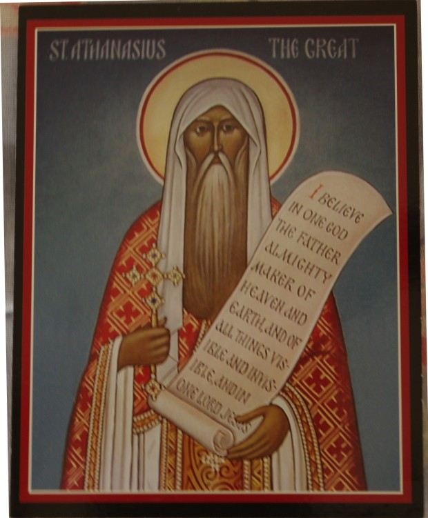 St. Athanasius the Great.  (from the icon at St. Innocent Russian Orthodox Church in Redmond Michigan)